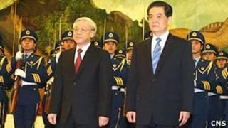 中國國家主席胡錦濤北京迎接越共總書記阮富仲