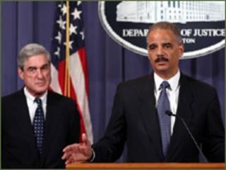 امریکی اٹارنی جنرل ایرک ہولڈر اور ایف بی آئی ڈائریکٹر رابرٹ مولر