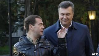 Янукович и Медведев в Завидово