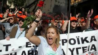 Protesto na Grécia. Getty