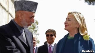 هیلاری کلینتون و حامد کرزی در کابل