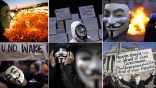 демонстранты в масках