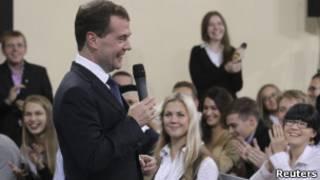 Дмитрий Медведев на встречу в МГУ