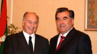 Президент Таджикистана Эмомали Рахмонов (справа) и духовный лидер мусульман-исмаилитов принц Ага-Хан IV