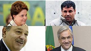 Dilma Rousseff, Chapo Guzman, Carlos Slim y Sebastián Piñera.