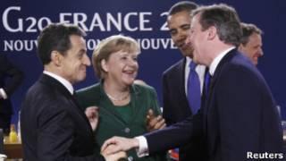 Nicolas Sarkozy, Angela Merkel, Barack Obama e David Cameron. Foto: Reuters