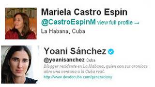 Twitters de Yoani Sánchez y Mariela Castro