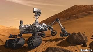 Simulação do Curiosity em Marte. Reuters