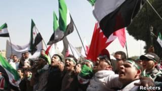 Антисирийская демонстрация в Каире у здания ЛАГ