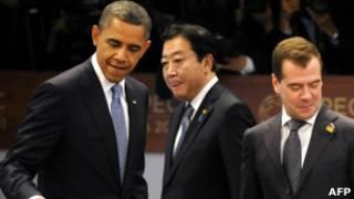 از چپ به راست اوباما، هو، مدودف