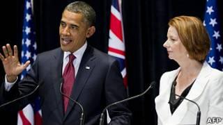 美國總統奧巴馬和澳大利亞總理吉拉德周三公布了加強美國在亞太地區軍事存在的計劃