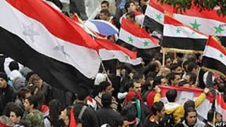 Também ocorreram manifestações de apoio ao presidente Bashar al-Assad em Damasco (AFP)