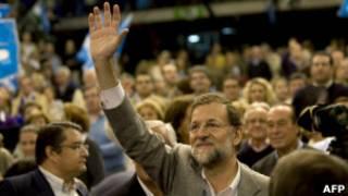 Mariano Rajoy em evento de campanha