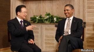 الرئيس الأمريكي باراك أوباما ورئيس الوزراء الصيني ون جياباو