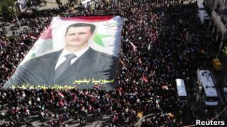 Protesto pró-governo em Damasco. Reuters