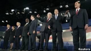 Pré-candidatos republicanos em debate no dia 13 de novembro