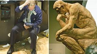 Investidor e estátua d'O Pensador', de Rodin (Montagem: BBC)
