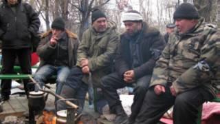 Участники акции протеста чернобыльцев в Донецке