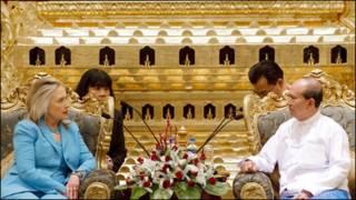 Tổng thống U Thein Sein (phải) và Ngoại trưởng Clinton