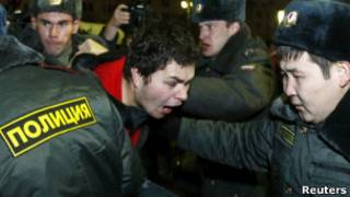 Manifestação em eleição na Rússia