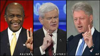Herman Cain, Newt Gingrich y Bill Clinton