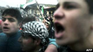 Protesto contra o governo sírio (AFP)