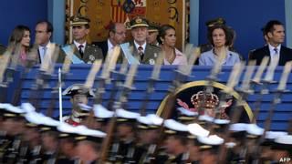 Una imagen que no se repetirá: la princesa Letizia, su esposo el príncipe Felipe, el rey Juan Carlos, la princesa Elena, la reina Sofia y el polémico duque de Palma de Mallorca, Iñaki Urdingarin, juntos en un acto oficial.