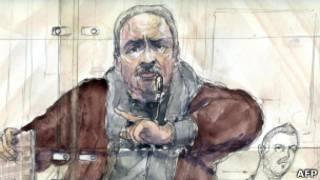 Desenho do Chacal na corte, nesta quinta (AFP)