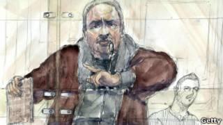 رسم تخطيطي لكارلوس في المحكمة