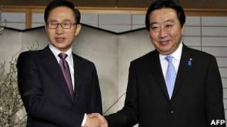 韓國總統李明博和日本首相野田佳彥