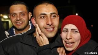 Встреча освобожденных палестинцев в Рамалле