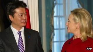 Hai ngoại trưởng Hillary Clinton và Koichiro Gemba
