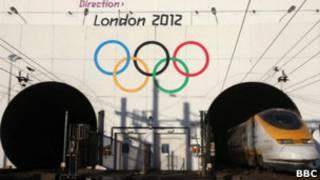 Олимпийские кольца над въездом в тоннель под Ла-Маншем