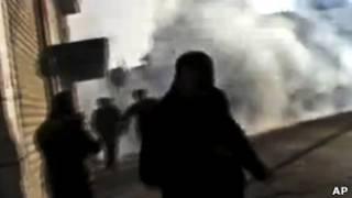Manifestantes em Homs (AP)