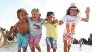 Aviso de ropa infantil francesa