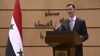 President Bashar al-Assad menyampaikan pidato di Universitas Damaskus