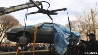 Взорванный автомобиль иранского ученого