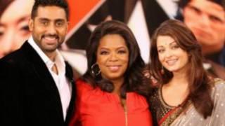 وينفري مع مجموعة من نجوم السينما الهندية