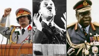 左起:卡扎菲,希特勒,乌干达总统伊迪·阿明