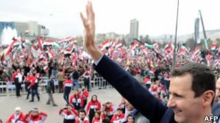 Bashar al Assad durante uma aparição pública em Damasco no dia 11 de janeiro