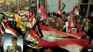 Демонстрация в поддержку президента Асада в Дамаске