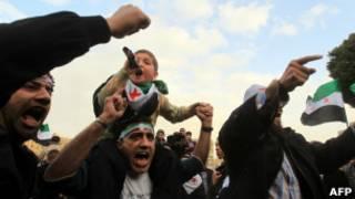 Manifestação de sírios no Egito (AFP)