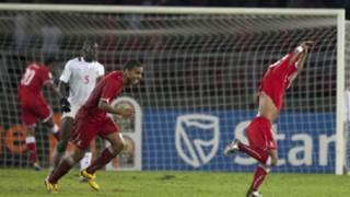 لاعبو غينيا الاستوائية يحتفلون بهدف الفوز
