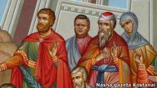 Казахстанский сенатор на фреске в городе Рудный