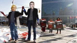 Демонстрация возле штаб-квартиры ООН в Нью-Йорке