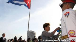Dilma na Praça da Revolução, em Cuba (Foto: Roberto Stuckert Filho - Presidência da República)