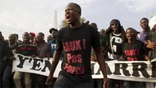 masu zanga zanga a Senegal