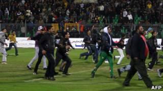 Confusão em estádio no Egito. AFP