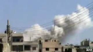 Район Хомса Баба-Амр под обстрелом