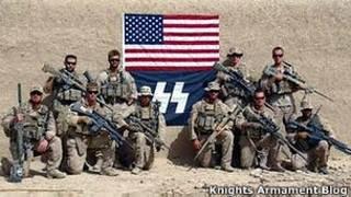 Soldados con la bandera de EE.UU. y el símbolo nazi